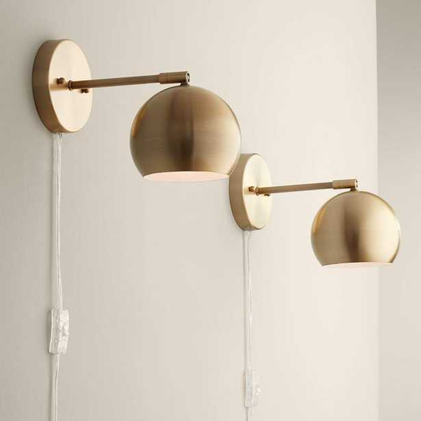 Selena Brass Sphere Shade Pin-Up LED Wall Lamps Set of 2 - Style # 34A85 - Lamps Plus