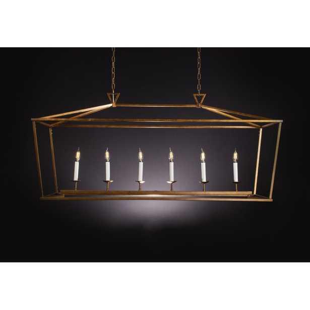 Lancaer Openwork Linear 6-Light Square/Rectangle Chandelier- gilded iron - Wayfair