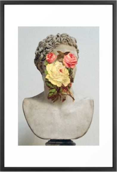 Bust With Flowers Framed Art Print - 26x38 - Society6
