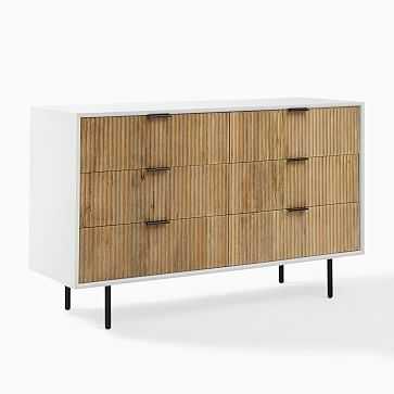 Quinn 6-Drawer Dresser, White and Rubberwood, Antique Bronze - West Elm