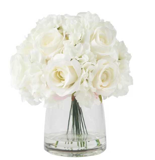Hydrangea and Rose Arrangement in Glass Vase - Wayfair