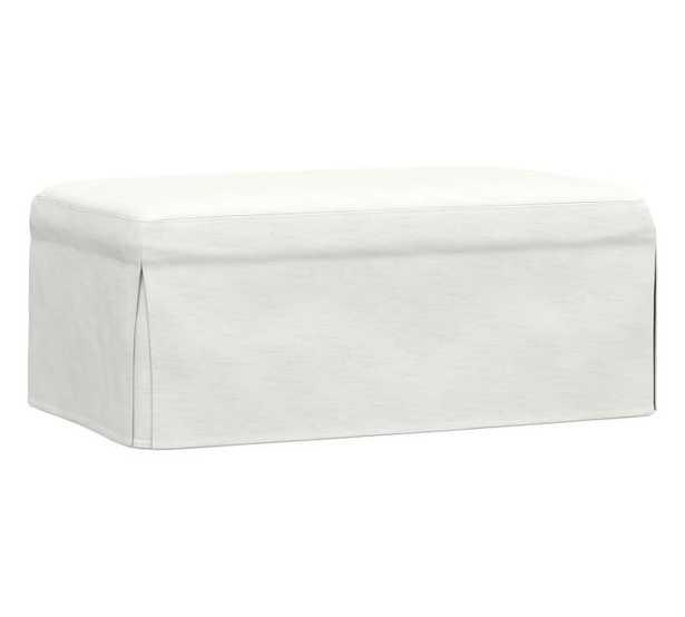 Sullivan Fin Arm Slipcovered Deep Seat Ottoman, Down Blend Wrapped Cushions, Performance Slub Cotton White - Pottery Barn