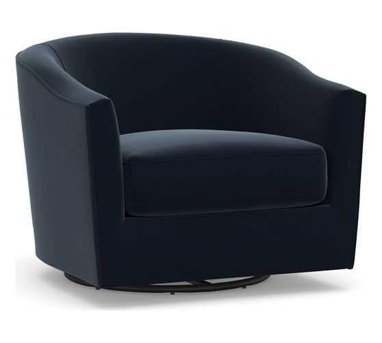 Harlow Upholstered Swivel Armchair, Polyester Wrapped Cushions, Performance Plush Velvet Navy - Pottery Barn