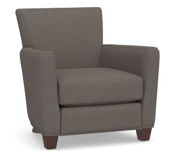 Irving Square Arm Upholstered Recliner without Nailheads, Polyester Wrapped Cushions, Performance Heathered Tweed Graphite - Pottery Barn