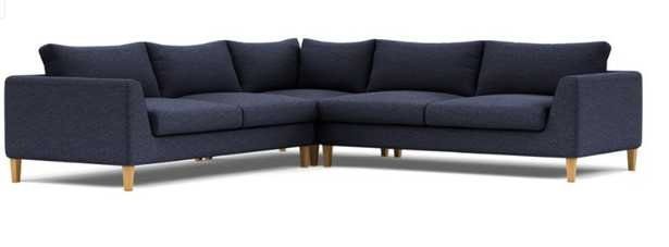 """Custom Asher Corner Sectional Sofa in Azure Heathered Weave (Kid & Pet Friendly) with Natural Oak Tapered Square Wood Legs - 102"""" - Interior Define"""