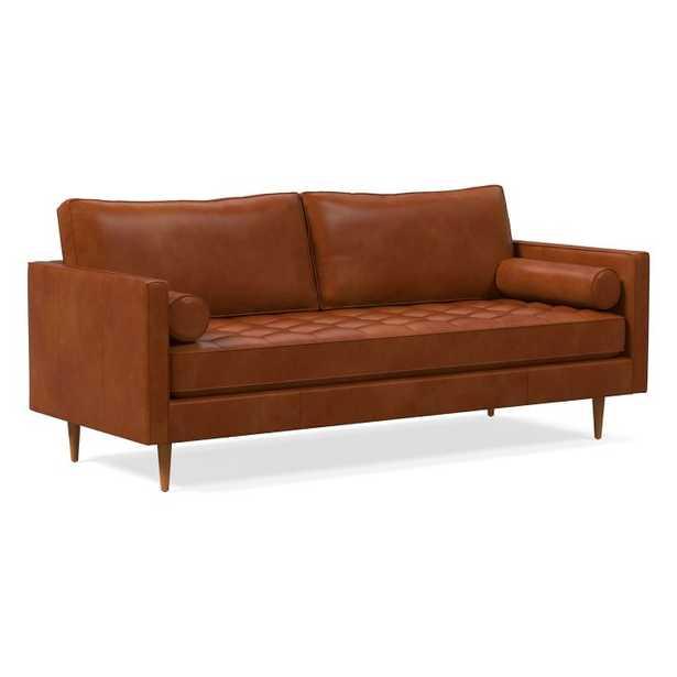 Monroe Mid-Century Tufted Seat Leather Sofa - West Elm