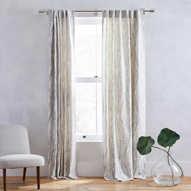 "Bark Texture Jacquard Curtain, Platinum, 48""x84"" - unlined - West Elm"