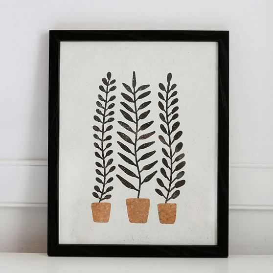 Pauline Stanley Studio Wall Art, Potted Ferns, Black Acrylic Frame, Earthy & Natural - West Elm