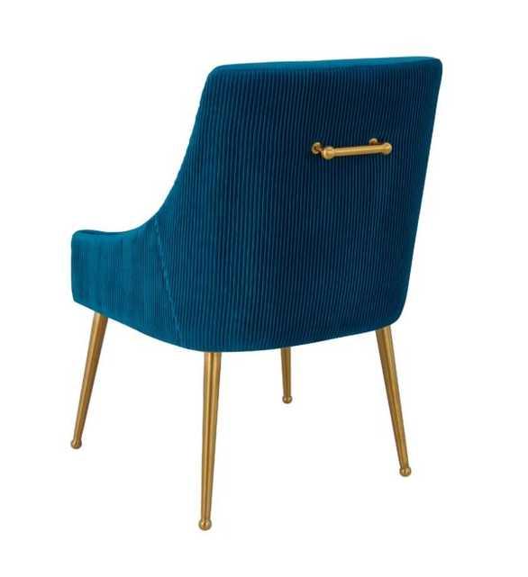 Skyler Pleated Navy Velvet Side Chair - Maren Home