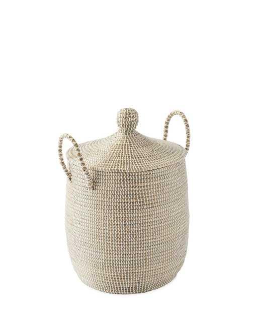 Solid La Jolla Small Basket - Natural/White - Serena and Lily