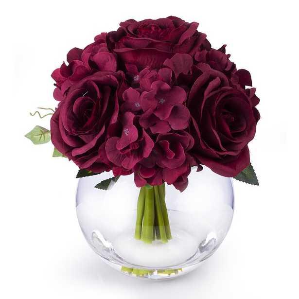 Mixed Rose and Hydrangea Floral Arrangement in Vase - Wayfair