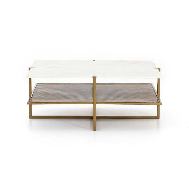 Hyla Marble Coffee Table, Brass - Pottery Barn