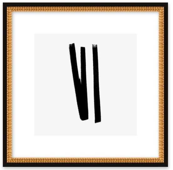 "Lines 2, 1 - 16""x16"", Ornate - Flat Black Double Bead Wood, frame - Artfully Walls"