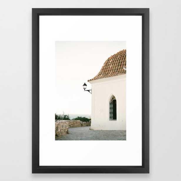 "Travel photography ""Ibiza white"" | Modern wall art Ibiza Spain coast white tones sunset Framed Art Print - Vector Black Frame - Society6"