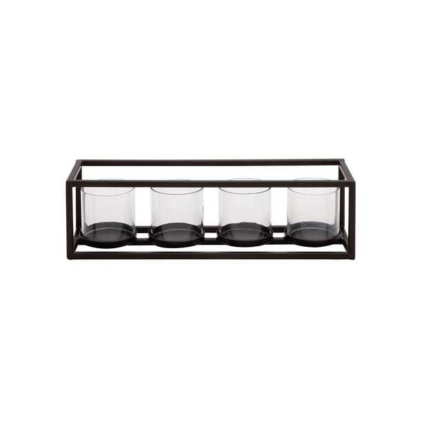 5 in. Black Iron and Clear Glass 4-Pedestal Rectangular Candle Holder - Home Depot