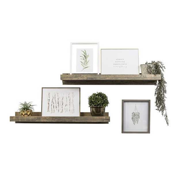 Tishie 2 Shelves 2 Piece Pine Solid Wood Floating Shelf (Set of 2) - Wayfair