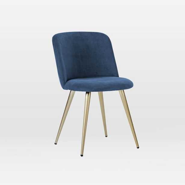 Lila Upholstered Dining Chair, Performance Velvet, Ink Blue, Light Bronze, Individual - West Elm