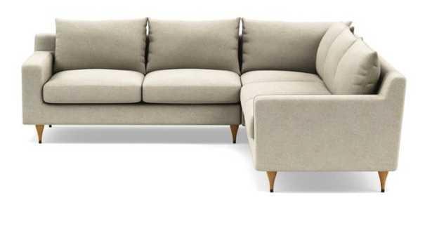 "Sloan Corner Sectional - 109"" - Performance Flax - Natural Oak Cap - Standard Depth - Interior Define"