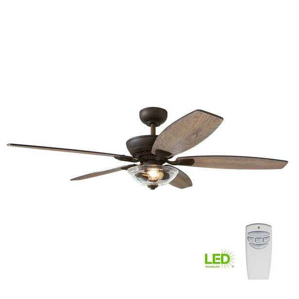 Connor 54 in. LED Bronze Dual-Mount Ceiling Fan with Light Kit and Remote Control - Home Depot