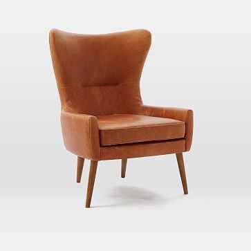 Erik Wing Chair, Leather, Sienna - West Elm