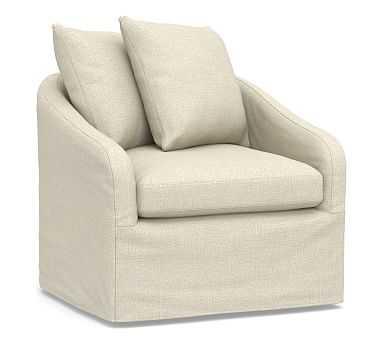 Anniston Slipcovered Swivel Armchair, Down Blend Wrapped Cushions, Basketweave Slub Oatmeal - Pottery Barn