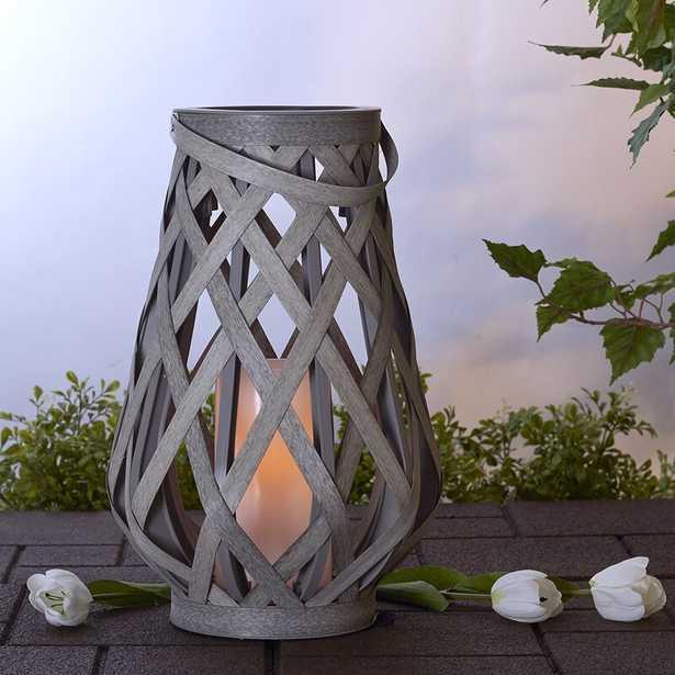"17"" Basketweave Gray Battery Powered LED Outdoor Lantern - Wayfair"