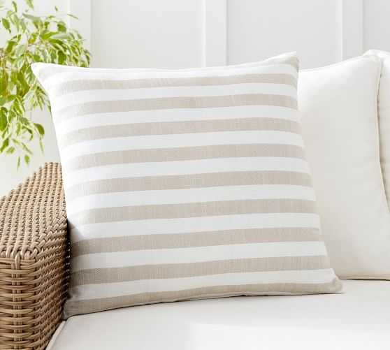Leandra Reversible Striped Indoor/Outdoor Pillow - Pottery Barn