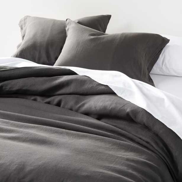 Soft Linen Grey Full/Queen Duvet Cover - Crate and Barrel