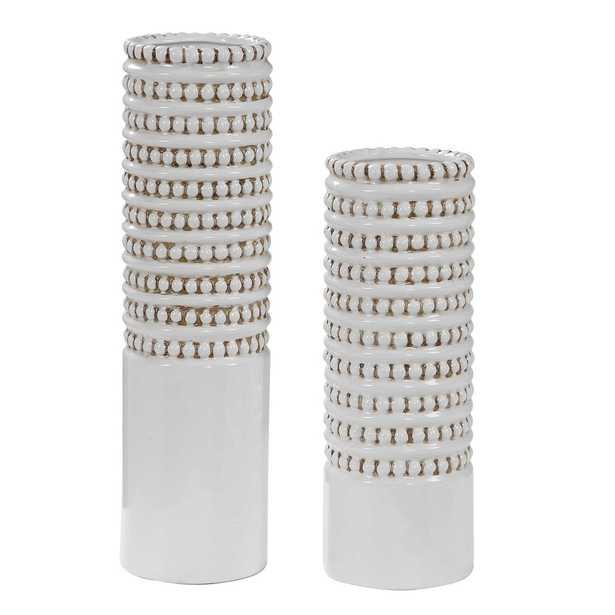 Angelou White Vases, Set/2 - Hudsonhill Foundry