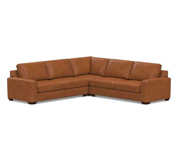 Big Sur Square Arm Leather 3-Piece L-Shaped Corner Sectional, Down Blend Wrapped Cushions, Vintage Caramel - Pottery Barn