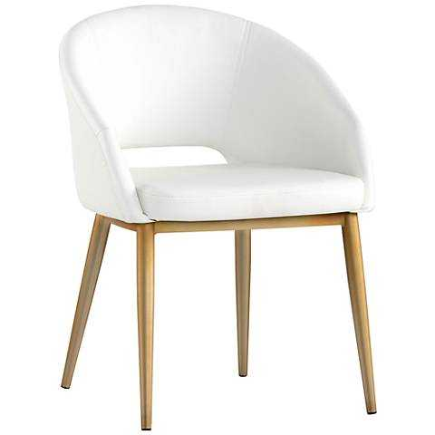 Thatcher White Faux Leather and Antique Brass Dining Chair - Lamps Plus