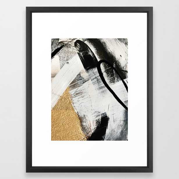 Armor [9]: a minimal abstract piece in black white and gold by Alyssa Hamilton Art Framed Art Print - Society6