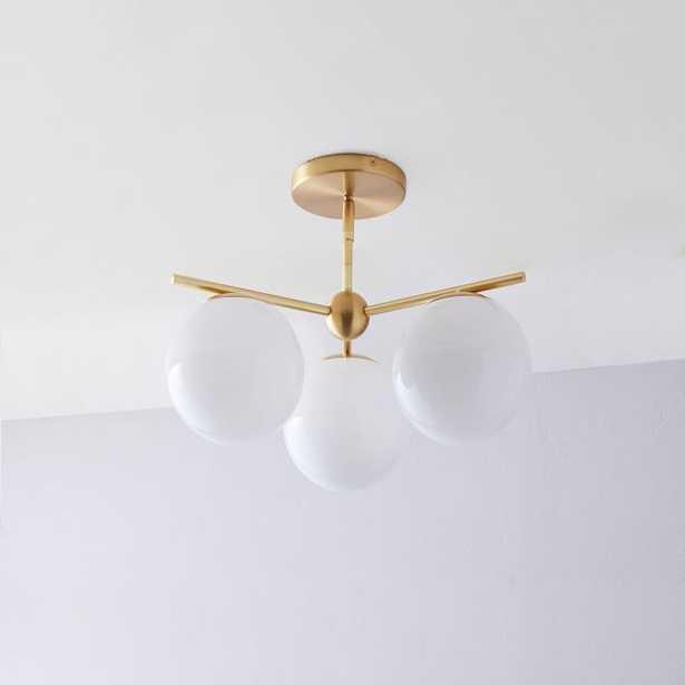 Sphere + Stem 3-Light Semi-Flushmount - Brass - West Elm