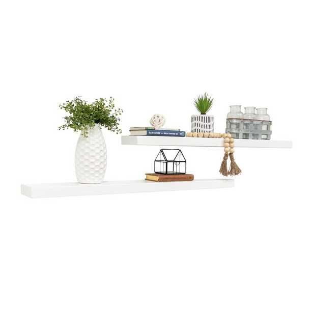 Evonne 2 Piece Pine Solid Wood Floating Shelf (Set of 2) - Birch Lane