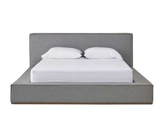 Gray Lucca Mid Century Modern Bed - Synergy Pewter - Mocha - Queen - Joybird