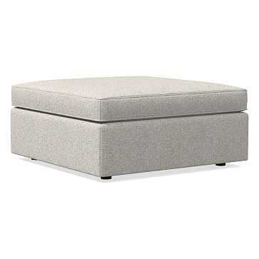 Harris Large Square Ottoman, Chenille Tweed, Irongate, Concealed Support, Poly - West Elm