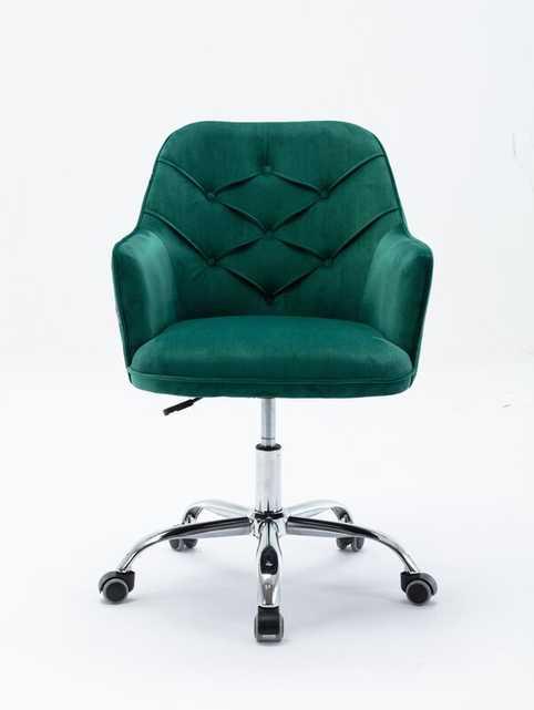 , Swivel Casters Home Office Chair Computer Ergonomic Velvet Task Chair Adjustable Desk Chair With Chromed Base And Swivel Casters - Wayfair