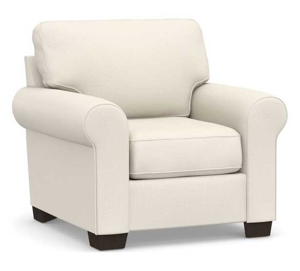 Buchanan Roll Arm Upholstered Armchair, Polyester Wrapped Cushions, Performance Heathered Tweed Ivory - Pottery Barn