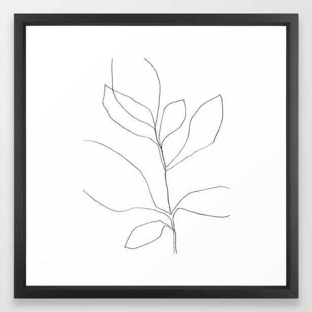 """Seven Leaf Plant - Minimalist Botanical Line Drawing, 22""""x22"""" Framed, Vector Black Frame - Society6"""