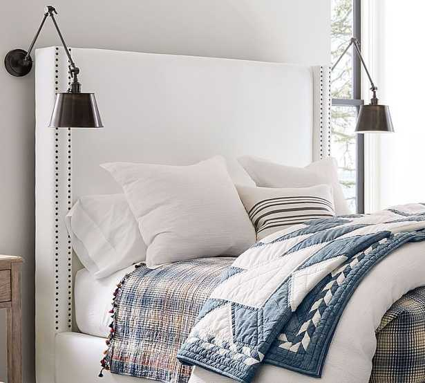 Harper Upholstered Non-Tufted Tall Bed without Nailheads, Queen, Basketweave Slub Ivory - Pottery Barn