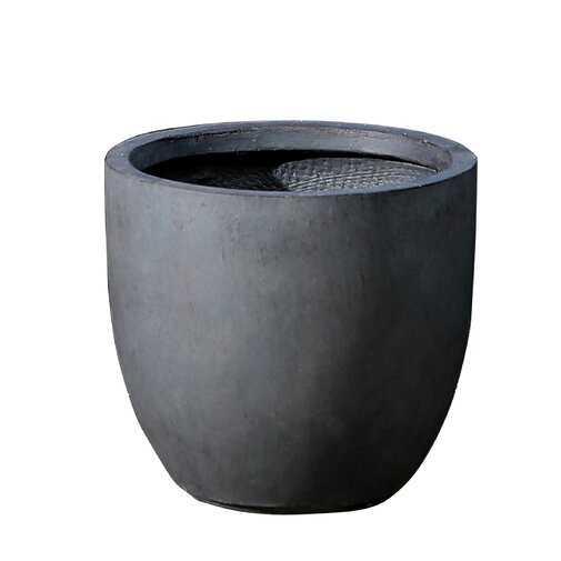 """Adamell Round Fiberclay Pot Planter - Dark Gray - 13.8""""x13.8"""" - Wayfair"""