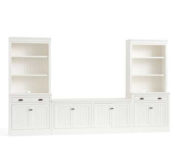 "Aubrey 5-Piece Entertainment Center Cabinets, Dutch White, 144"" Wide - Pottery Barn"