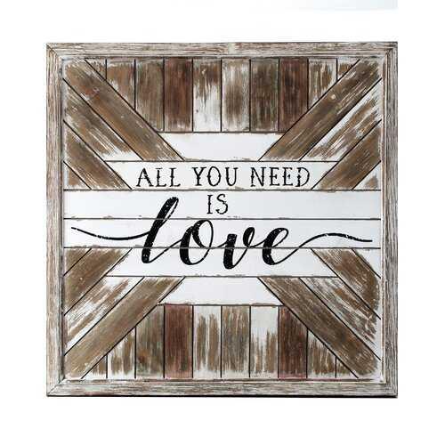 Wood Slat Love Sign Wall Décor - Wayfair