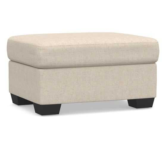 York Roll Upholstered Ottoman, Polyester Wrapped Cushions, Performance Everydaylinen(TM) by Crypton(R) Home Oatmeal - Pottery Barn