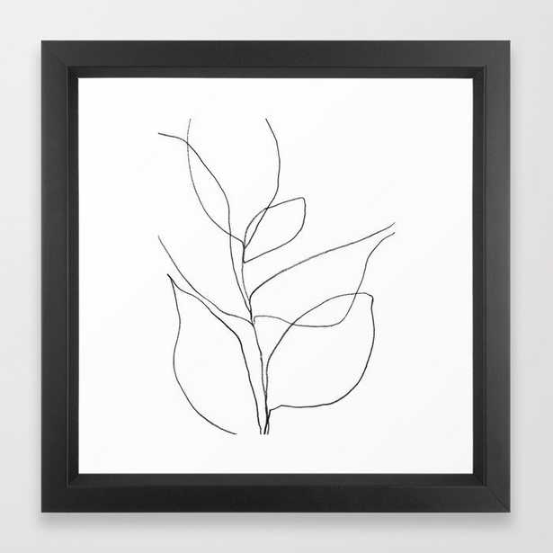 Minimalist Line Art Plant - Vector Black - Society6