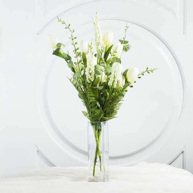 Mixed Silk Tulip Floral Arrangements and Centerpieces in Glass Vase - Wayfair
