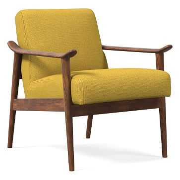 Mid-Century Show Wood Chair, Poly, Basket Slub, Dark Horseradish, Pecan - West Elm