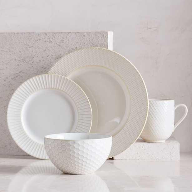 Textured Dinnerware, Set of 16, White - West Elm