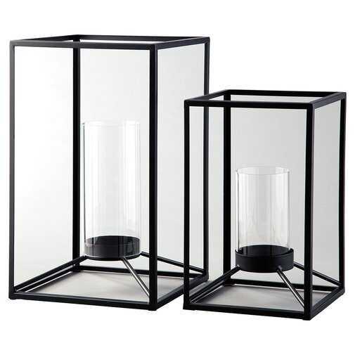 2 Piece Metal/Glass Lantern Set - Wayfair