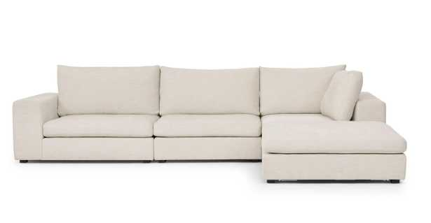 gaba pearl white modular right sectional - Article